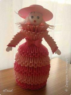 Поделка изделие Оригами Оригами китайское модульное Мои бумажные куклы Бумага Бусины Ленты фото 9
