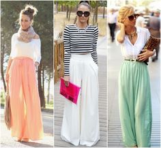 Typically I love print palazzo pants, but these are great colors for spring. Fashion Pants, Boho Fashion, Fashion Outfits, Fashion Trends, Summer Outfits, Casual Outfits, Elegant Outfit, Casual Street Style, Palazzo Pants