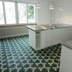 Kitchen floor. Project from Ch. & H.J. Senn Achs AG Architects. Hex arrow von popham design #handmade cement tiles #kitchen #design #pattern #handmade #green #pophamdesign Cement Tiles, Kitchen Flooring, Architects, Arrow, Kitchen Design, Pattern, Handmade, Home Decor, Ideas