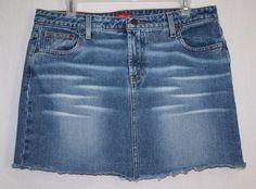 Mossimo Cut Off Denim Blue Jean Skirt Size 15 Cotton Distressed Tenn Fashion Juniors