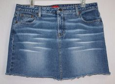 Mossimo Cut Off Denim Blue Jean Skirt Size 15 Cotton Distressed Tenn Fashion Juniors