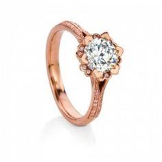 MaeVona 18K Rose Gold Iris Pave Diamond Engagement Ring Wedding Day Diamonds