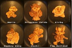 NINTENDO THEMED PANCAKES! Nathan Shields (Saipancakes) makes all sorts of pancake shaped masterpieces including pop culture stuff from films, cartoons and video games. This set is Nintendo-centric in theme with Yoshi, Mario, Princess Zelda, Donkey Kong, Fox McCloud and Kirby.