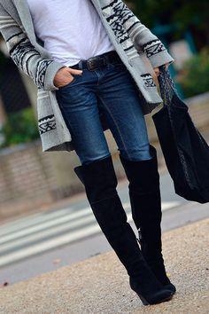 bottes cuissardes: Zara - jean: GAP - gilet: Etam - Find 150+ Top Online Shoe Stores via http://AmericasMall.com/categories/shoes.html