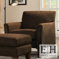 ETHAN HOME Uptown Mocha Microfiber Modern Arm Accent chair