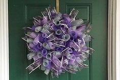 Purple and Silver Spiral Deco Mesh Christmas Wreath - Reduced Price