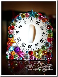 Glue jewels from craft store onto kitchen timer - great for homework, helping in the kitchen, chore time, anything you need help with! #kids #crafts