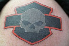 Harley-Davidson skull and shield tattoo | #rideon #harley #ChopperExchange #bikerornot #barandshield