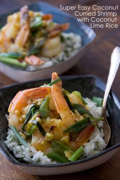 Coconut Curried Shrimp w: Coconut Rice via @Gaby Saucedo Dalkin