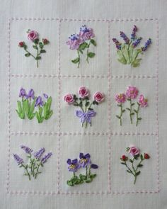 Wonderful Ribbon Embroidery Flowers by Hand Ideas. Enchanting Ribbon Embroidery Flowers by Hand Ideas. Herb Embroidery, Embroidery Flowers Pattern, Simple Embroidery, Japanese Embroidery, Hand Embroidery Stitches, Silk Ribbon Embroidery, Hand Embroidery Designs, Embroidery Techniques, Cross Stitch Embroidery