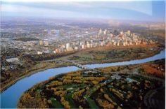 This is Edmonton, Alberta (Canada) and it is home to me. I took this pic while we were flying over the city for funzers :) Alberta Canada, River, City, Outdoor, Outdoors, Rivers, City Drawing, The Great Outdoors, Cities