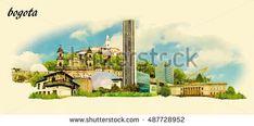 BOGOTA city panoramic vector water color illustration