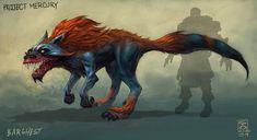 Barghest (horned, flaming dog)