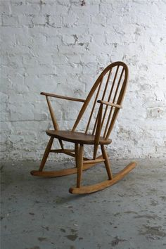 VINTAGE ERCOL WINDSOR ROCKING CHAIR BLONDE RETRO