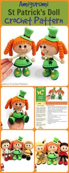 This is so cute!! Amigurumi St Patrick's Doll in Leprechaun outfit, PDF crochet pattern#amigurumi#stpatricks#ad#stpatricksideas#crochetpattern #amigurumipattern #amigurumidoll