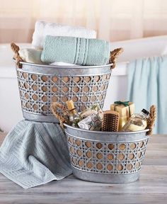 Galvanized Metal Basket Set Burlap Lined Rustic Country Home Decor Storage