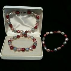 Multicolor Pearl Necklace And Bracelet Set