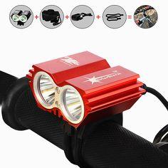 U2 led دراجة دراجة العلوي مصباح المصباح الشعلة 5000 لومينز الصمام الدراجة الخفيفة كشافات + 6400 مللي أمبير بطارية + شاحن