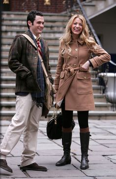 """Dan & Serena (Season 1, Episode 12)  Dan and Serena's all-American outfits just scream """"Prep school!"""" (We're especially loving Serena's camel coat.) 'Gossip Girl' Series Finale: A Look Back At The Fashion From All 6 Seasons (PHOTOS)"""