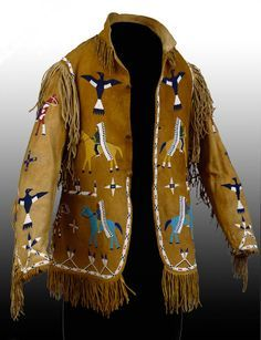 Lakota (Teton/Western Sioux) artist Jacket, late 19th century Leather, glass, brass