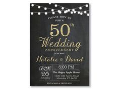 50th Wedding Anniversary Invitation. Gold by happyappleprinting