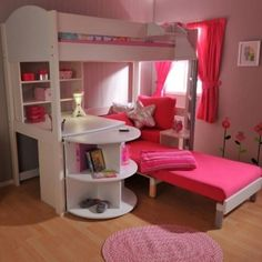 18 Loft Kids Bedroom Design Ideas: Cool Teenager Grils Room With Storage Bunk Beds And Loft Beds
