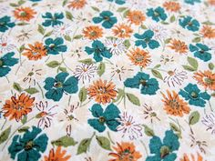 Japanese Cotton Fabric  Wildflowers in Green