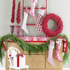 lovely red and white Christmas decor by annmarie