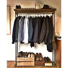Industrial Clothes Rail. Clothes Hanger Rack. Hand Made of Reclaimed Pine Wood and Steel Metal