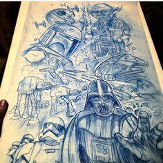 regram Star Wars leg sleeve by Star Wars Tattoo, Star Tattoos, Leg Tattoos, Cool Tattoos, Tatoos, Simbolos Star Wars, Star Wars Jokes, Star Wars Facts, Drawing Stars