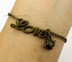 Love teapotcharm Bracelet in by ThePrettyJewelryShow on Etsy, $1.99