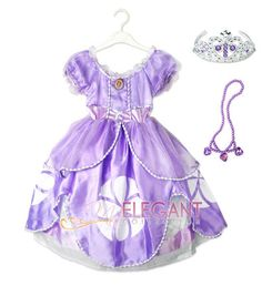 Disney Sofia The First Princess Children Girls Kids Gown Costume Dress 3-9 Tiara in Clothing, Shoes & Accessories, Costumes, Reenactment, Theatre, Costumes | eBay