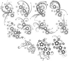 A set of tattoos for a co-worker of mine! Please do not copy and get these tattooed on yourself - these are just for her! Stars and Swirls Tattoos