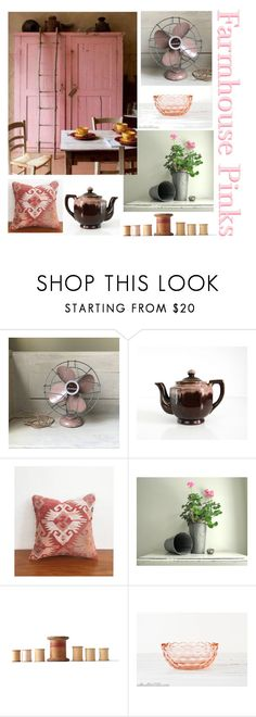 """Farmhouse Pinks"" by gazaboovintage ❤ liked on Polyvore featuring interior, interiors, interior design, home, home decor, interior decorating, Clarks and vintage"