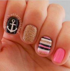 Shellac nails inspiration for summer nails nails, shellac na Anchor Nail Designs, Anchor Nail Art, Nail Art Designs, Nautical Nail Designs, Get Nails, Fancy Nails, Love Nails, Gorgeous Nails, Pretty Nails