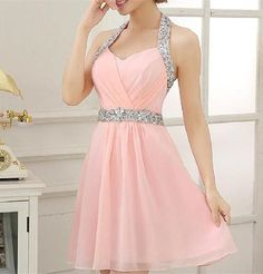 A-line Halter Homecoming Dress,Sleeveless Chiffon Homecoming Dress,Cute Short Homecoming Dress,Beaded Pink Homecoming Dresses