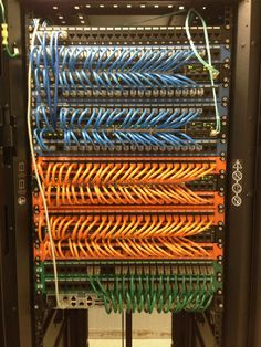 Well organized network cables make the world go round. Orange Blue Green Patch Panel Install. Stacking Switches, Dell Power Connect