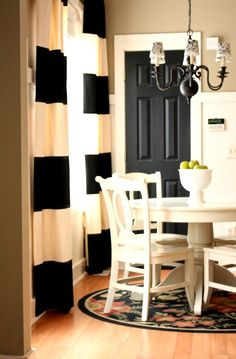 tan walls, white trim & black interior doors - the striped curtains top it off perfectly! Painted Interior Doors, Black Interior Doors, Black Doors, Painted Doors, Home Interior, Interior And Exterior, Interior Design, Exterior Doors, Color Interior