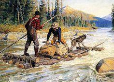 http://www.ebay.com/itm/Hunterr-Log-Raft-Dog-Moose-by-Phillip-Goodwin-/252843585644?hash=item3adea6f06c:g:bw4AAOSwzaJX~RtJ