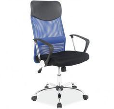 Silla de oficina Emin color azul. 89 €. Dimensiones: Altura total: 111 - 120 cm. Altura asiento: 45 - 53 cm. Profundidad asiento: 50 cm. Ancho total: 62 cm.  Hoy más que nunca trabajamos sentados, si no toda la jornada sí una buena parte de ella. Si calculáramos la cantidad de horas que pasamos sentados seguro que prestaríamos más atención a la silla que empleamos para trabajar.  Muebles bonitos, pensando en la comodidad y salud del cliente, ofrece varios modelos adecuados. Elige el tuyo.