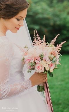 Pink Bridal Bouquet | Roses, hydrangea, astilbe and eucaliptus