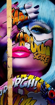 """Monika Nowak is a French-Polish artist that creates vibrant collages inspired by comic books and pop culture. """"Monika Nowak's work explores her intuition: energetic, independent… Photography Illustration, Art Et Illustration, Face Photography, Graffiti Art, Images Pop Art, Shall We ダンス, Portfolio D'art, Pop Art Vintage, Tableau Pop Art"""