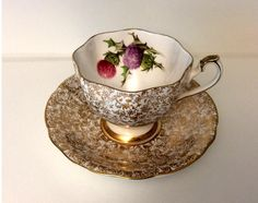 Windsor Bone China hand-painted Thistle with Gold Floral Chintz Tea Cup and Saucer by GreenCarriageHouse on Etsy