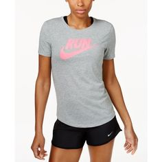 Nike Run Dri-fit T-Shirt ($35) ❤ liked on Polyvore featuring activewear, activewear tops, nike sportswear, nike activewear and nike