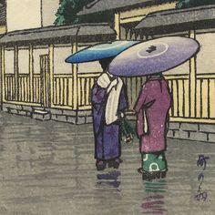 City in the Rain by Hasui (1883 - 1957) Very like a watercolor