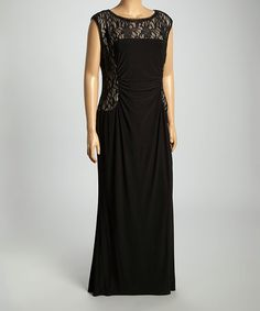e4692b9aadf R M Richards Black   Nude Lace Sleeveless Gown - Plus