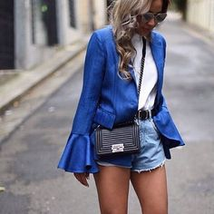 S T R E E T S T Y L I N ✖️ Bell Sleeves, they're here whether you like it or not  @miss_gunner shows us her style with this divine cobalt number. @asiliothelabel 'Brief Interpretation' blazer with white and denim  #inlove #limited #pieces #available