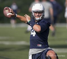 PENN STATE – FOOTBALL 2014 – Penn State quarterback Christian Hackenberg warms up during the first day of practice held on the Lasch practice fields on August 4, 2014.