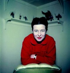 Simone de Beauvoir photographed by Jack Nisberg, 1957.