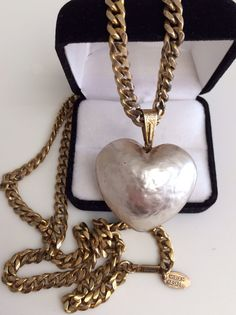 Signed Miriam Haskell Statement Couture Baroque Pearl Puffy Heart Pendant With Long Link Chain Necklace